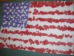 Make a paper flag collage with students to celebrate Patriot Day